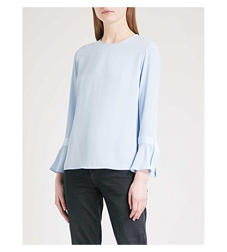 WAREHOUSE Flared-cuff crepe top (Pale+blue