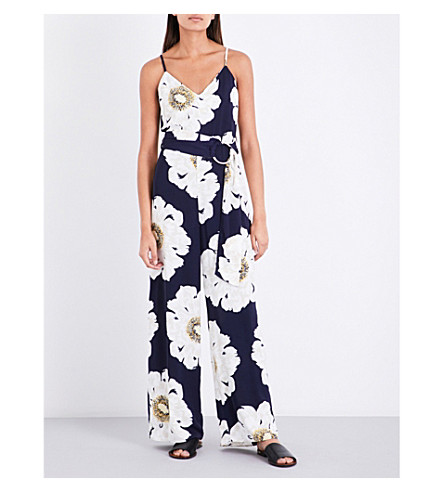 WAREHOUSE Melody floral-print crepe jumpsuit (Blue