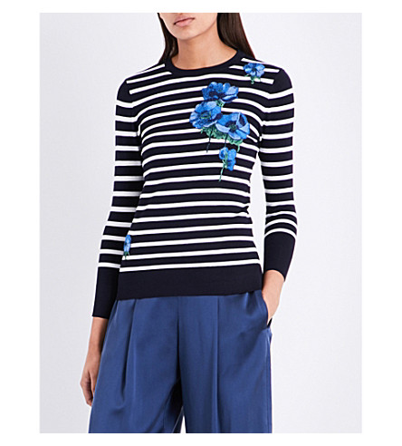 WAREHOUSE Celia striped flower-embroidered striped jumper (Navy