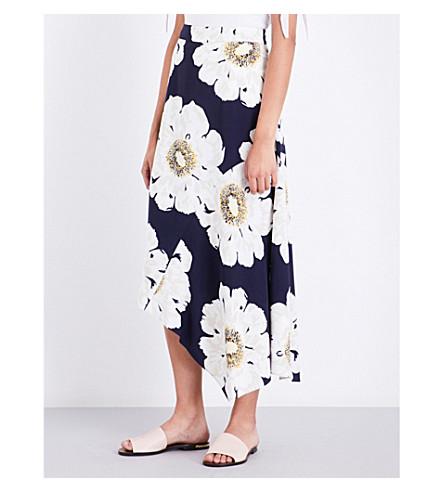 WAREHOUSE Melody floral-print satin midi skirt (Blue