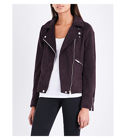 WAREHOUSE Faux-suede biker jacket (Pink