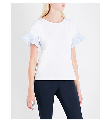 WAREHOUSE Frilled cotton T-shirt (White