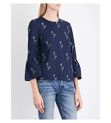 WAREHOUSE Iris embroidered top (Navy