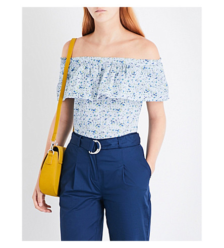 WAREHOUSE Micro-stripe and floral-printed cotton top (Blue