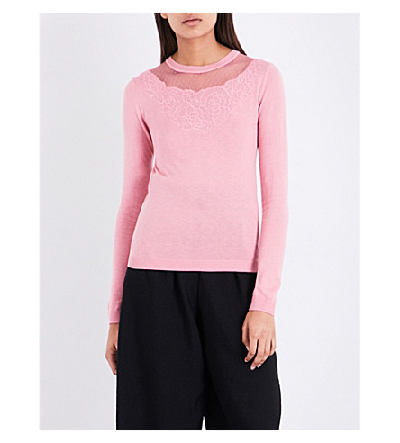 WAREHOUSE Floral-embroidered mesh-panelled jumper (Pale+pink