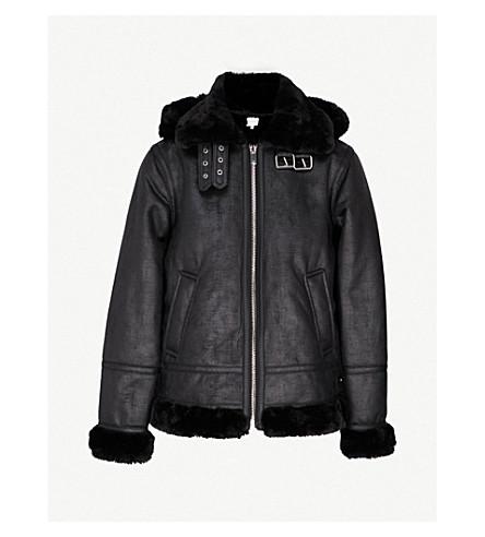 WAREHOUSE Faux-shearling hooded aviator jacket (Black