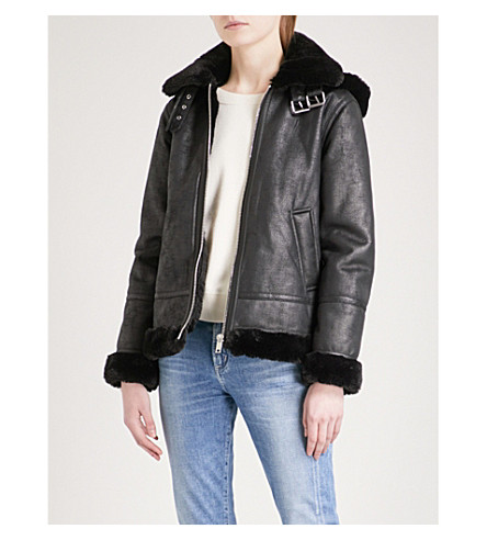 WAREHOUSE Faux-shearling hooded aviator jacket (Black
