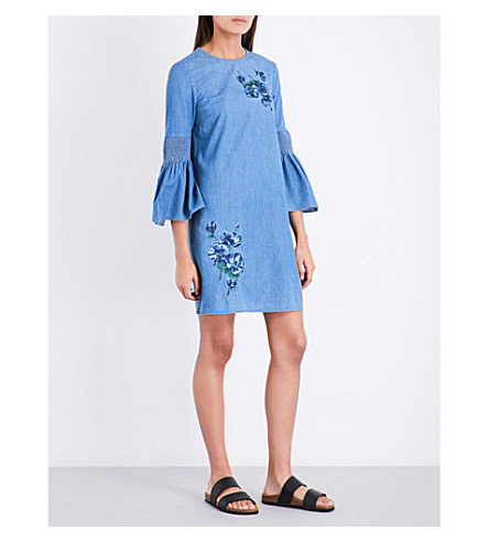 WAREHOUSE Flower-embroidered denim dress (Blue
