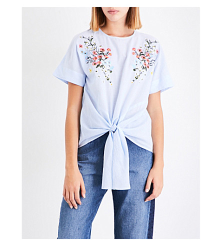 WAREHOUSE Freida floral-embroidered cotton-poplin top (Blue