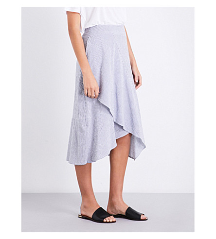 WAREHOUSE Striped ruffle-front cotton skirt (Grey