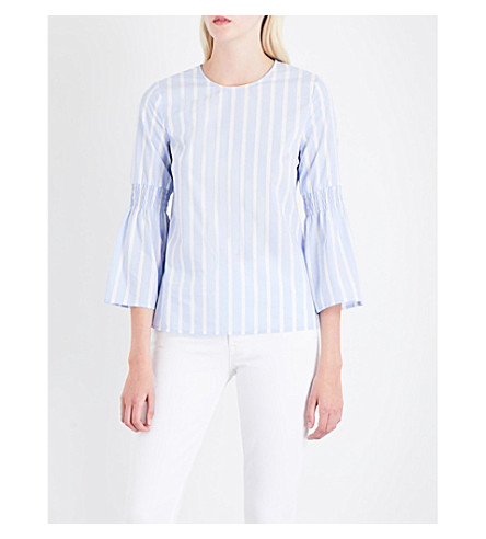 WAREHOUSE Stripe-print cotton top (Blue