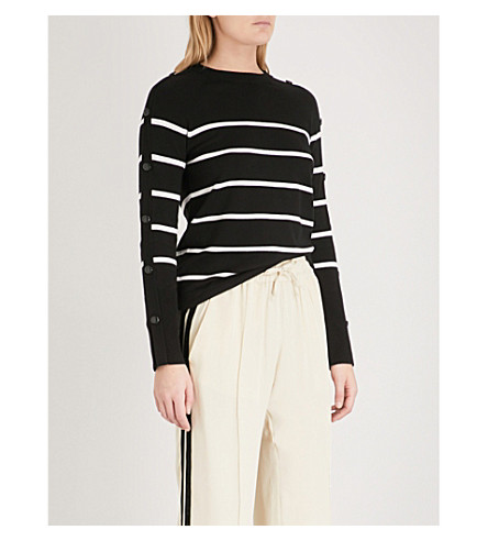 WAREHOUSE Button-embellished striped knit jumper (Black