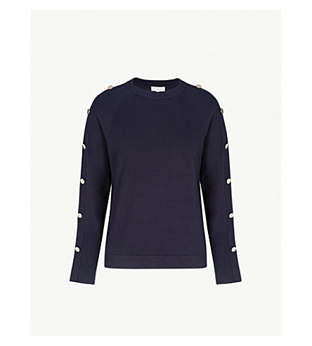 WAREHOUSE Button sleeve knitted jumper (Navy