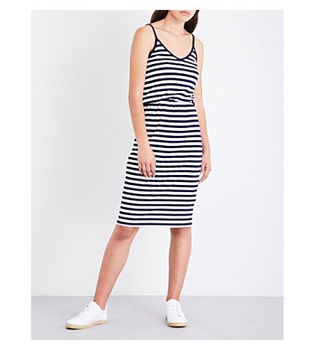 WAREHOUSE Striped jersey dress (Blue