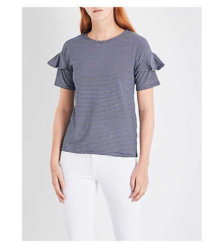 WAREHOUSE Frilled-cuff striped jersey T-shirt (Blue