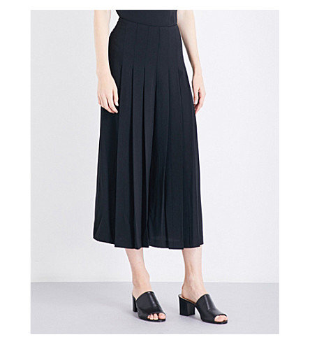 WAREHOUSE Pleated-front crepe culottes (Black