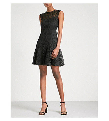 WAREHOUSE Flared lace dress (Black