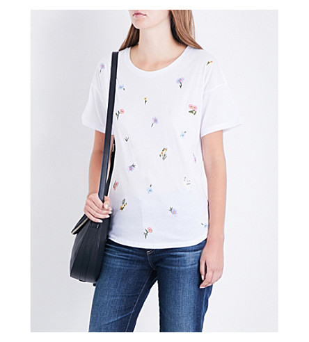 WAREHOUSE Freida embroidered cotton T-shirt (White