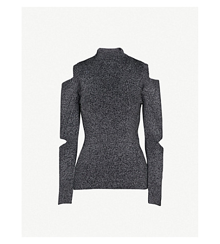 WAREHOUSE Metallic high-neck knitted jumper (Grey