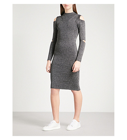 WAREHOUSE Cold-shoulder cutout ribbed-knit dress (Grey