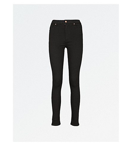 WAREHOUSE Slim-fit high-rise jeans (Black