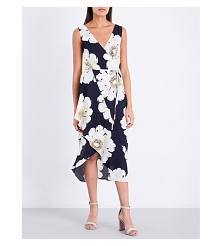 WAREHOUSE Melody floral-print crepe dress (Blue