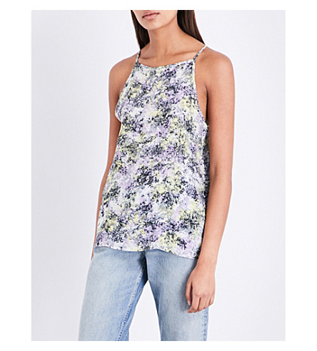 WAREHOUSE Cloud burst-print crepe top (Purple