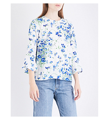 WAREHOUSE Full bloom crepe top (Blue