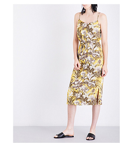 WAREHOUSE Amazon-print crepe dress (Yellow