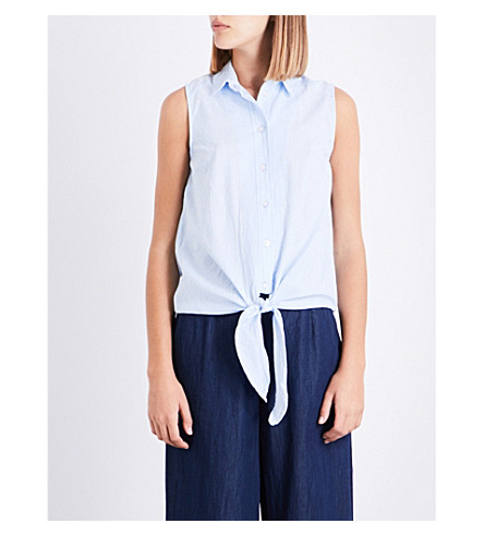 WAREHOUSE Tie-detail striped cotton top (Blue