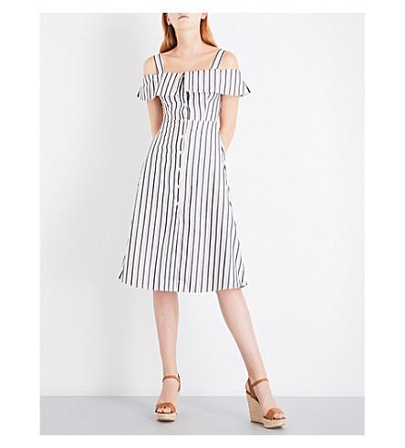 WAREHOUSE Striped button-through cotton-poplin dress (Cream