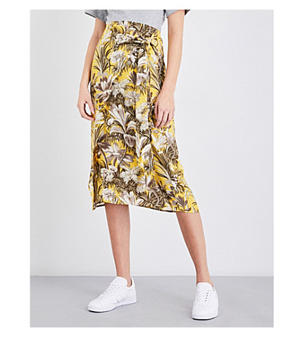 WAREHOUSE Amazon-print crepe skirt (Yellow