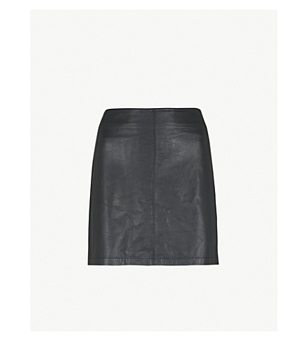 WAREHOUSE A-line leather skirt (Black