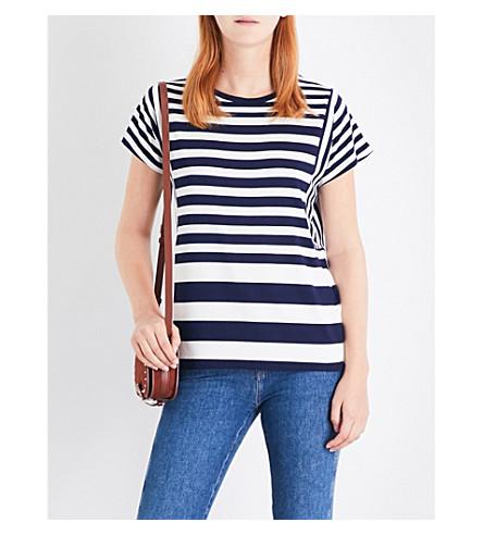 WAREHOUSE Striped jersey T-shirt (Navy