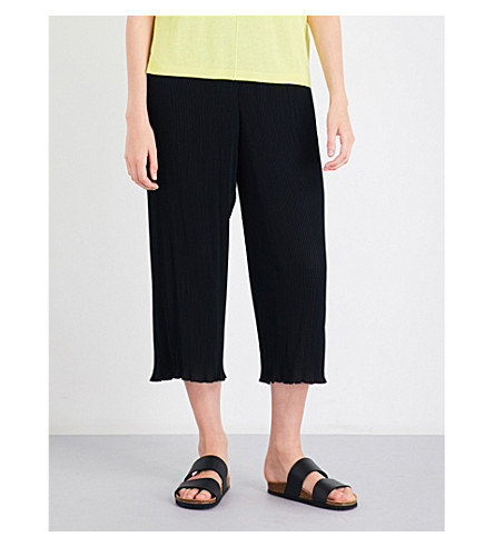 WAREHOUSE Plisse crepe culottes (Black