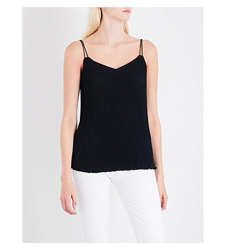 WAREHOUSE V-neck plisse cami (Black