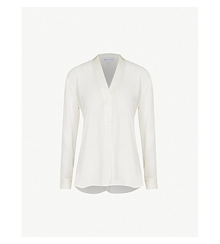 WAREHOUSE V-neck satin blouse (Cream
