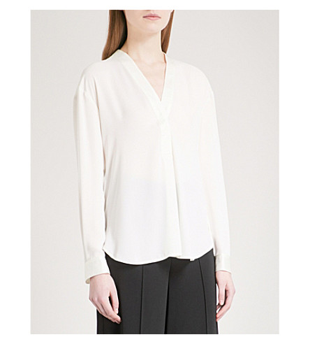 WAREHOUSE V-neck satin blouse (Cream