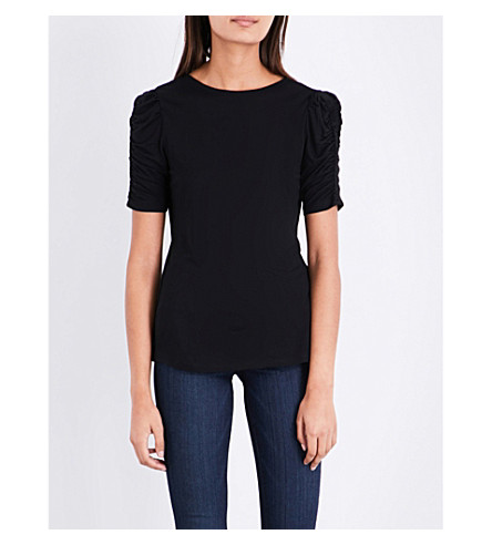 WAREHOUSE Ruched-sleeve jersey T-shirt (Black