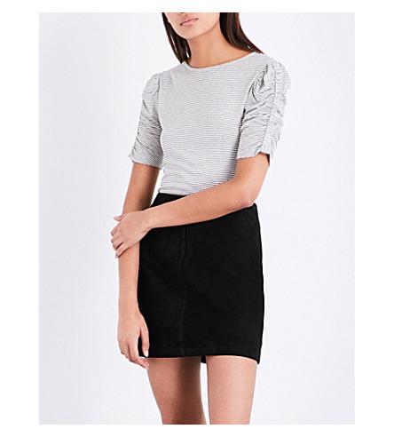 WAREHOUSE 褶皱袖条纹球衣 t恤衫 (黑色
