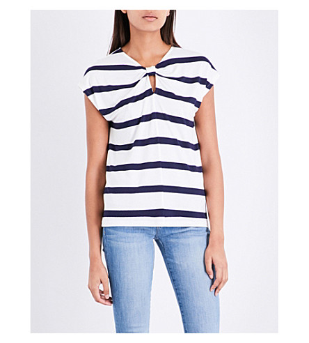 WAREHOUSE Striped knot-back woven jersey T-shirt (Blue
