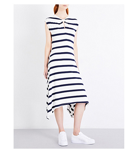 WAREHOUSE Striped fit-and-flare jersey dress (Blue
