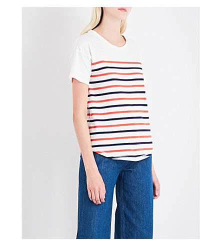 WAREHOUSE Striped-pattern cotton-jersey top (None