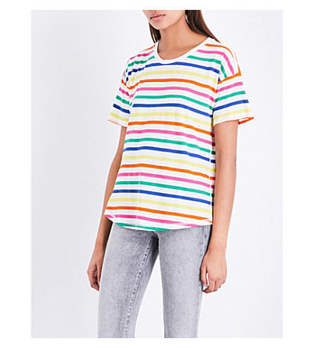 WAREHOUSE Rainbow stripe jersey T-shirt (None
