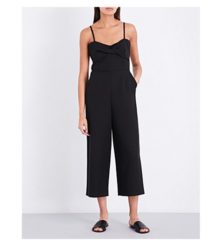 WAREHOUSE Twist-front crepe jumpsuit (Black