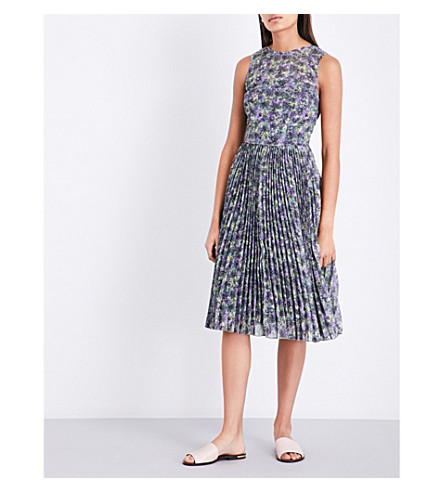 WAREHOUSE Cloud burst-print pleated dress (None