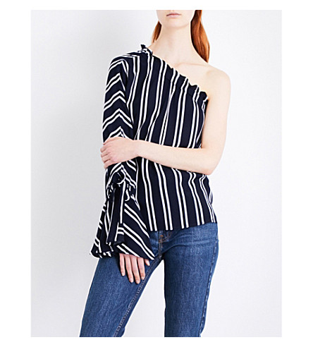 WAREHOUSE Striped one-shoulder crepe top (Blue