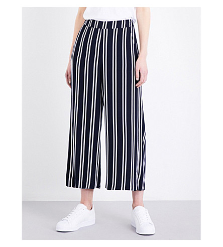 WAREHOUSE Striped wide cropped high-rise crepe trousers (Blue