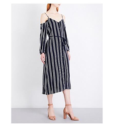 WAREHOUSE Striped cold-shoulder crepe dress (Blue