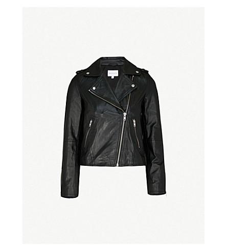 WAREHOUSE Leather biker jacket (Black